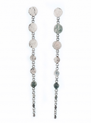 Leila Sequin Drop Earrings. Silver by India Mahon