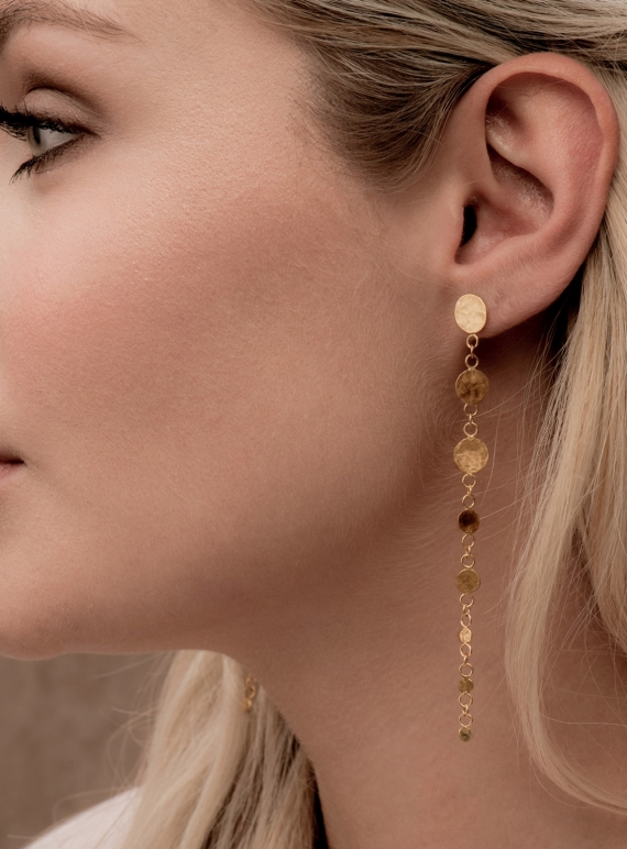 Young British Designers: Leila Sequin Drop Earrings. Gold Vermeil by India Mahon