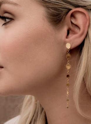Leila Sequin Drop Earrings. Gold Vermeil by India Mahon