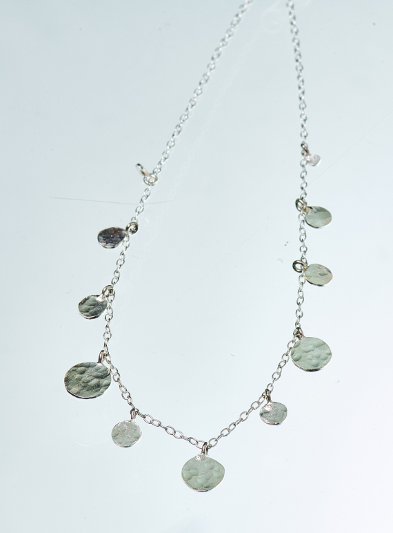 Young British Designers: Louisa Sequin Necklace. Silver by India Mahon