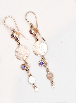 Venus Sequin & Stone Earrings. Silver by India Mahon