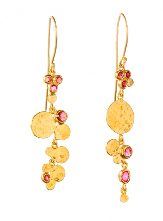 Young British Designers: Venus Sequin & Stone Earrings. Gold Vermeil - Sold out by India Mahon
