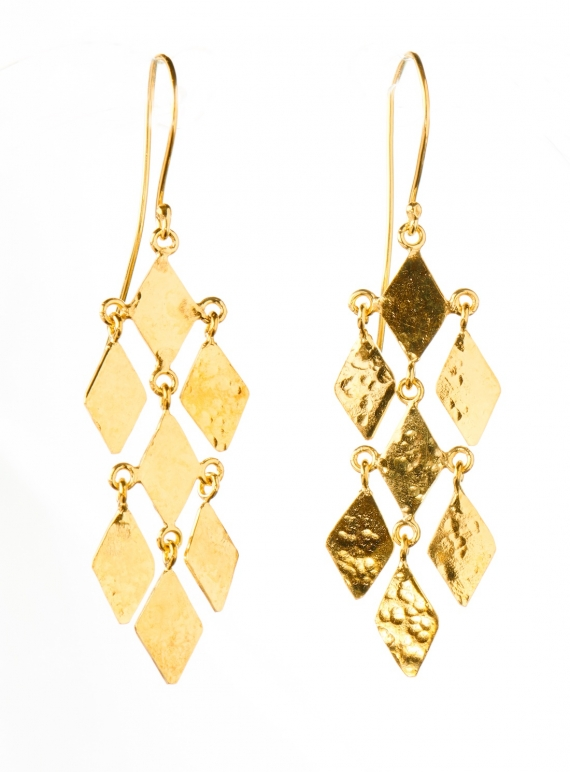 Young British Designers: Daliah Diamond Chandelier Earrings. Gold Vermeil by India Mahon