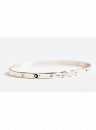 Fiona Gemstone Set Solid Silver Bangle by India Mahon