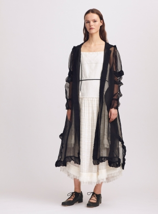 Matilda Black Silk Hooded Coat - Last one (L) by Renli Su