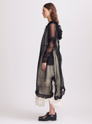 Young British Designers: Matilda Black Silk Hooded Coat by Renli Su