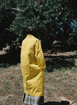 Young British Designers: FARO OVERSIZED DRY OILSKIN MAC. Yellow by Cawley