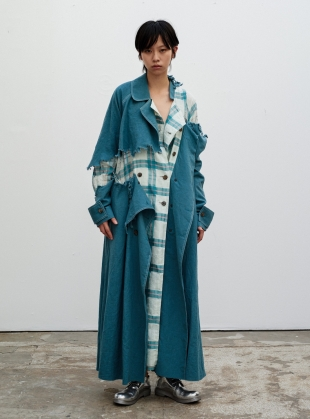 DISTRESSED LONG TRENCH. Teal  by WEN PAN