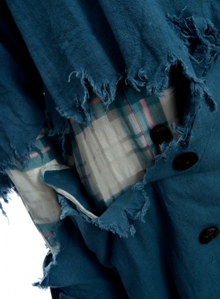 Young British Designers: DISTRESSED LONG TRENCH. Teal - Last one (S) by WEN PAN