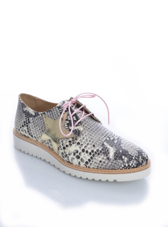 Young British Designers: MILKY WAY SNAKE PRINT LEATHER BROGUE (last pair 41) by Rogue Matilda