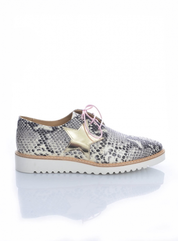 Young British Designers: MILKY WAY SNAKE PRINT LEATHER BROGUE by Rogue Matilda