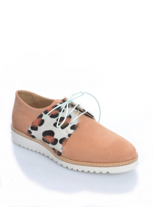 Young British Designers: FIZZ WIZZ Peach Suede Brogue by Rogue Matilda