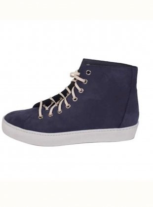 Young British Designers: NUBUCK HIGH TOP Sneaker. Navy by LF Markey