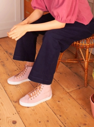 Young British Designers: NUBUCK HIGH TOP Sneaker. Pink by LF Markey