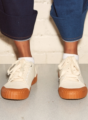 Young British Designers: BAGGER Oatmeal Gum Low Top Trainer by Good News