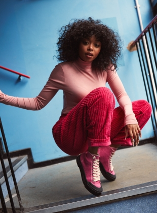 Young British Designers: JUICE Pink Jute High Top Trainers by Good News