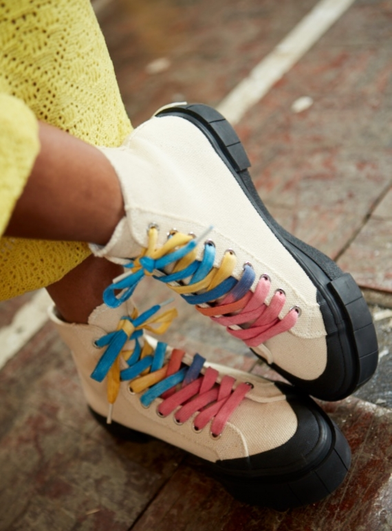Young British Designers: JUICE Multi Lace High Top Trainers by Good News