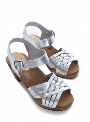Young British Designers: Silver Leather Dimma Clog by Kitty Clogs Sweden