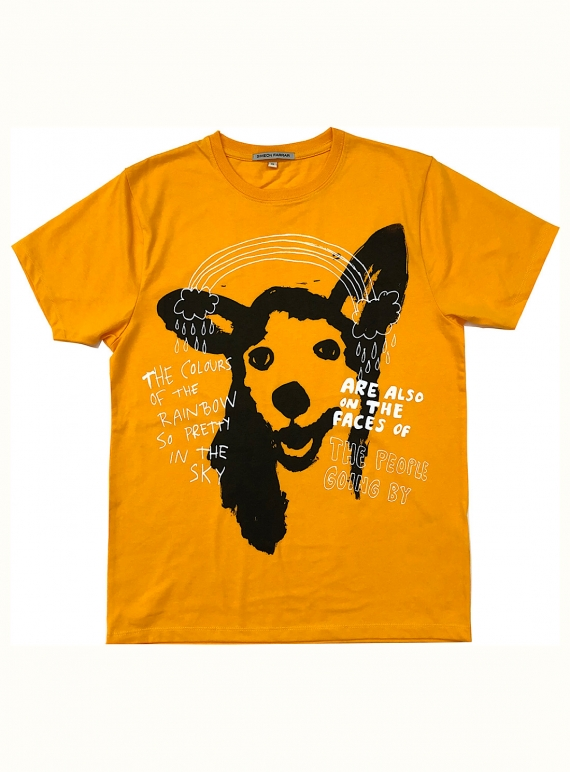 Young British Designers: Orange T-Shirt with Rainbow Dog - last one (xs) by Simeon Farrar