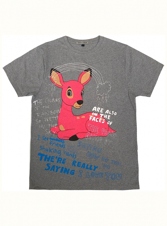 Young British Designers: Cotton T-Shirt with Rainbow Bambi by Simeon Farrar
