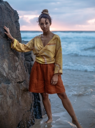 Young British Designers: LUZ WRAP TOP in Sunbaker Yellow - Last one (S) by COR Clothes