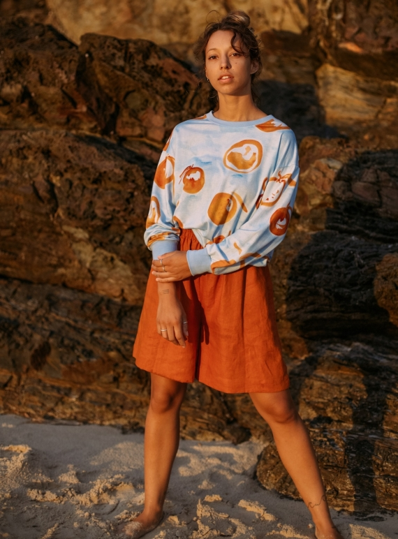 Young British Designers: FUSETA SWEAT in Laranja Print by COR Clothes