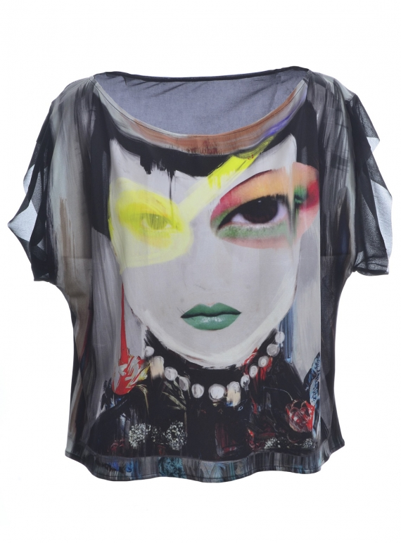 Young British Designers: THE OVERSIZED LUCID SILK TEE - last one (S) by IA London