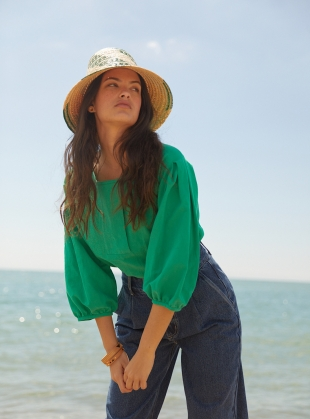 Young British Designers: Green FOLKE TOP by SIDELINE