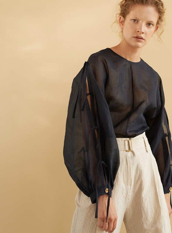 Young British Designers: HIRO TOP. Navy Organza  by Eudon Choi