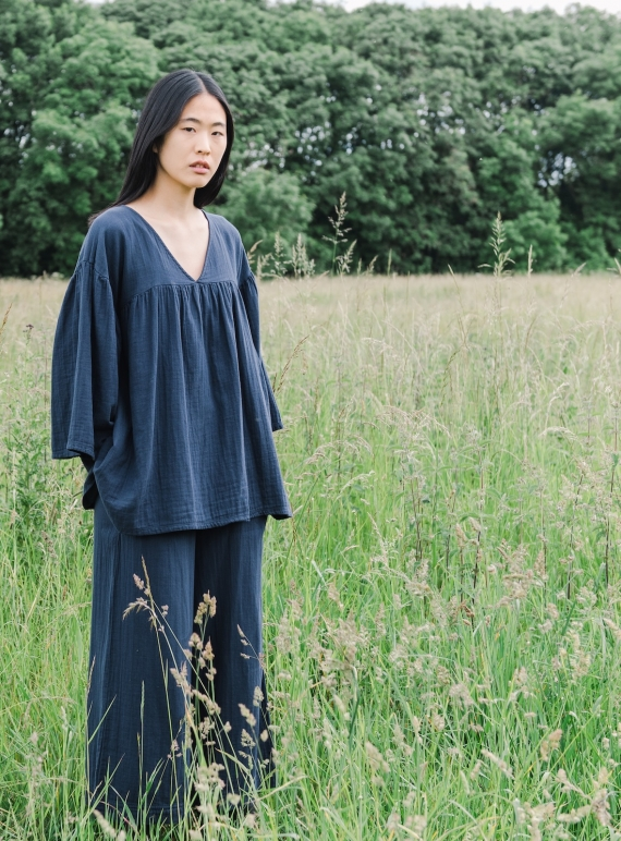 Young British Designers: CARLOTTE Organic Cotton Top. Indigo by Beaumont Organic