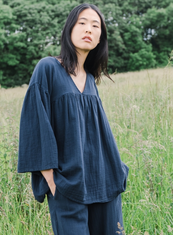 Young British Designers: CARLOTTE Organic Cotton Top. Indigo (last one S) by Beaumont Organic