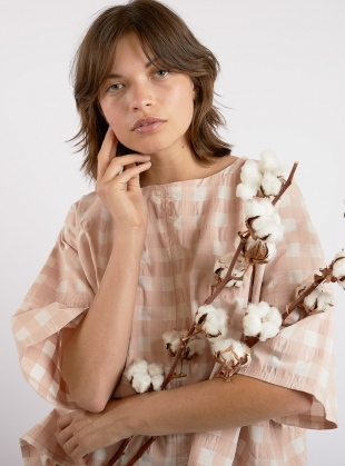 EDIE TOP. Rose Gingham. by Kate Sheridan