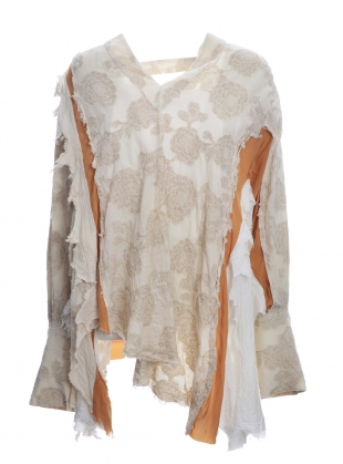 Young British Designers: V-NECK TOP. Washed out floral by WEN PAN