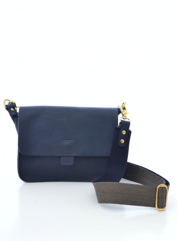 Young British Designers: Navy TAB Bag with Striped Woven Strap by Kate Sheridan