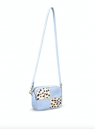 Young British Designers: BATTENBERG BAG. Baby Blue and Piebald Brown by Rogue Matilda