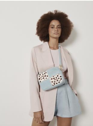 BATTENBERG BAG. Baby Blue and Piebald Brown by Rogue Matilda