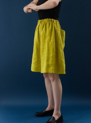 Young British Designers: HILDA LITHUANIAN LINEN SHORTS. Chartreuse by Cawley