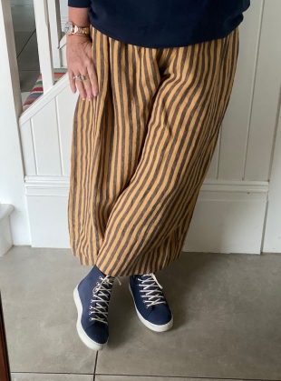 Young British Designers: MAY IRISH LINEN TROUSER. Orange/Navy Stripe by Cawley