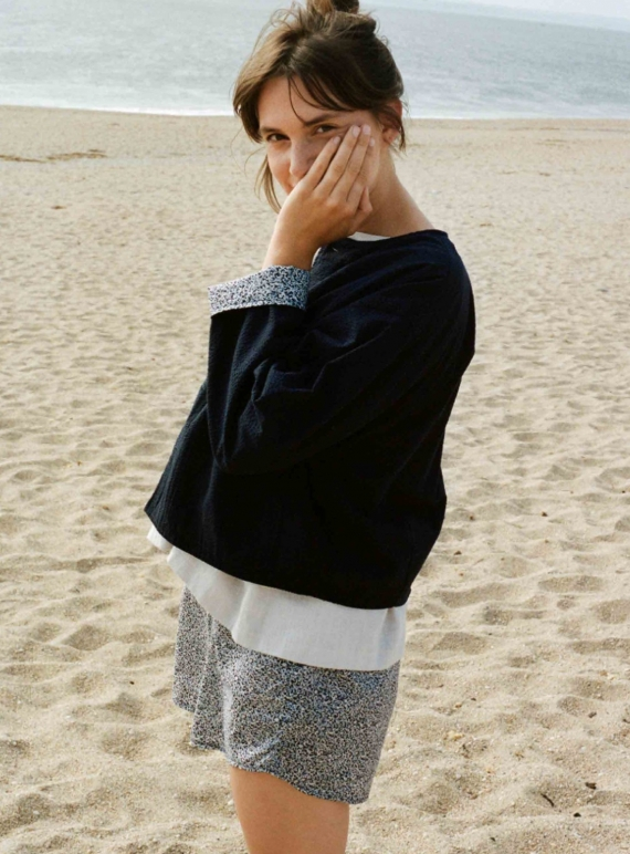 Young British Designers: GATHER SHORTS. Blue Floral by Kate Sheridan