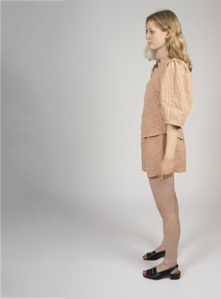Young British Designers: GATHER SHORTS. Rust Gingham by Kate Sheridan