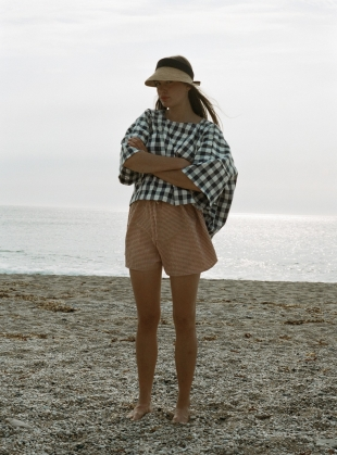 GATHER SHORTS. Rust Gingham by Kate Sheridan