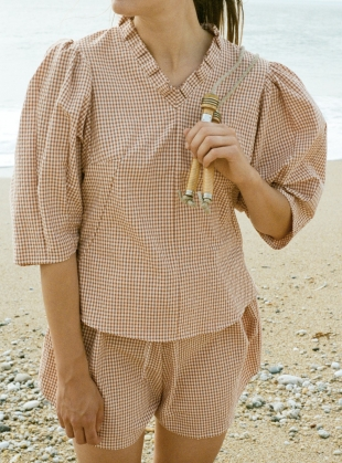 Young British Designers: GATHER SHORTS. Rust Gingham - Last pair (M/L) by Kate Sheridan