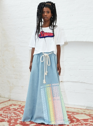 No More Heroes DENIM MAXI SKIRT by Simeon Farrar