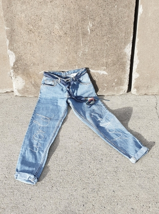 Young British Designers: High Waisted World Lovers Recycled Jeans by Fanfare Label