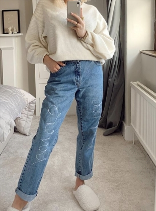 High Waisted World Lovers Recycled Jeans by Fanfare Label
