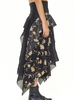 Asymmetric Patchwork SKIRT. Black Floral by WEN PAN