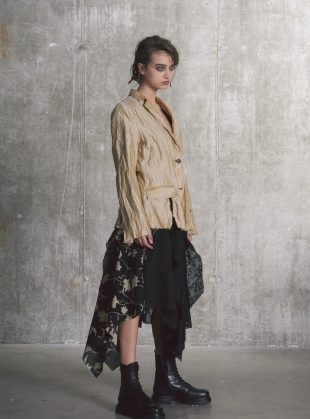 Young British Designers: Asymmetric Patchwork SKIRT. Black Floral  by WEN PAN