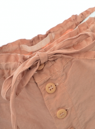 Young British Designers: UNISEX BUTTON CROP TROUSERS. Pink Avocado Dye by Phoebe English