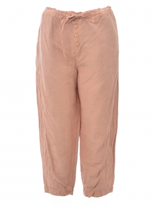 UNISEX BUTTON CROP TROUSERS. Pink Avocado Dye by Phoebe English