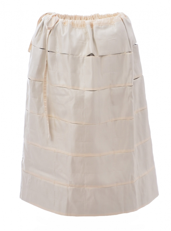 Young British Designers: QUILTED PUFF SKIRT. Ivory by Phoebe English